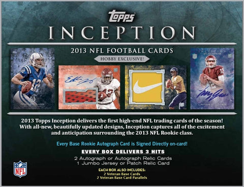 LIVE 2-box Football 9/12 Thurs. 930pm-CT 2013 Topps Inception, Platinum - Random Divisions Break
