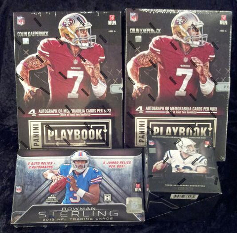 FOOTBALL 4-box break '13 Playbook x2, Sterling, & BLACK- 2 Random Teams per Spot