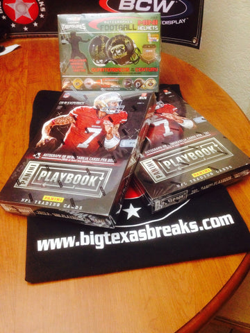 FOOTBALL 3-box break '13 Playbook x2 & '13 Tristar Auto-mini Helmet - 2 Random Teams per Spot
