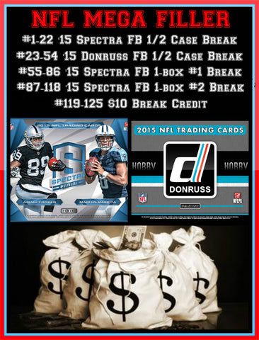 9/5/15 NFL Mega Filler - Every Spot Wins (125 Spots)