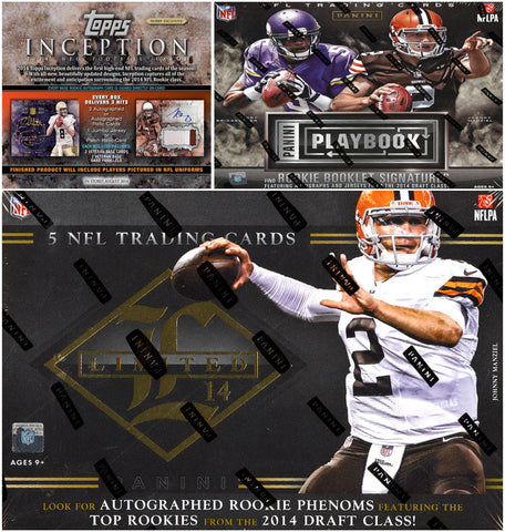 NFL 5-BOX MIXER - 2014 Playbook x2; 2014 Limited x2; 2014 Inception x1 - Random Teams
