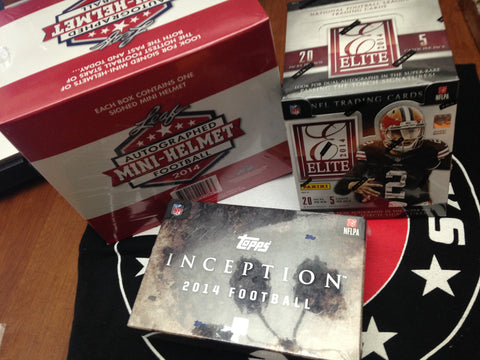 LIVE Monday 8/11 8pm_CT 3-box 2014 FOOTBALL Mixer -  '14 Inception, Elite, Leaf Mini-Helmet  - 1 Random Team per Spot