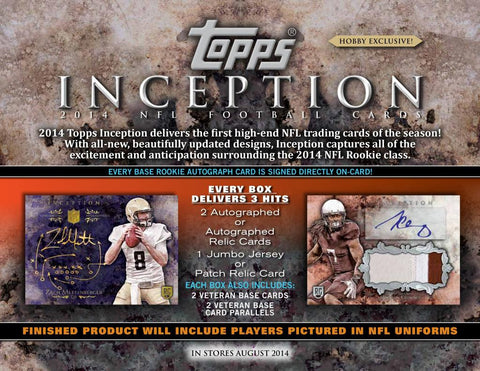 #2 10/16 2014 Topps Inception Football 1-box Break - RANDOM DIVISIONS
