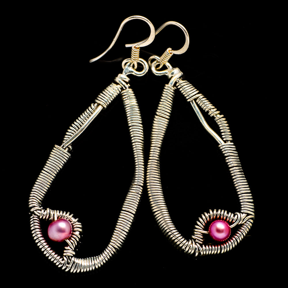 Pink Cultured Pearl Earrings handcrafted by Ana Silver Co - EARR400503