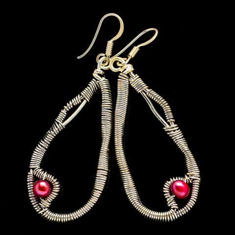 Pink Cultured Pearl Earrings handcrafted by Ana Silver Co - EARR400512