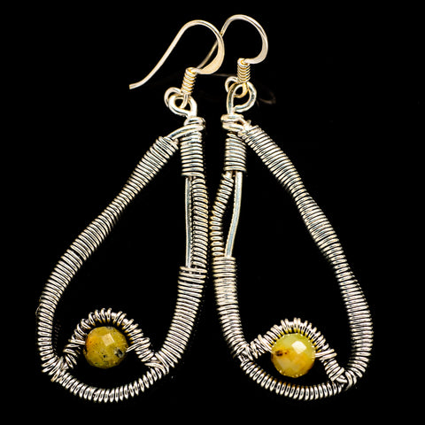 Yellow Agate Earrings handcrafted by Ana Silver Co - EARR400513