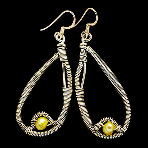 Yellow Cultured Pearl Earrings handcrafted by Ana Silver Co - EARR400520