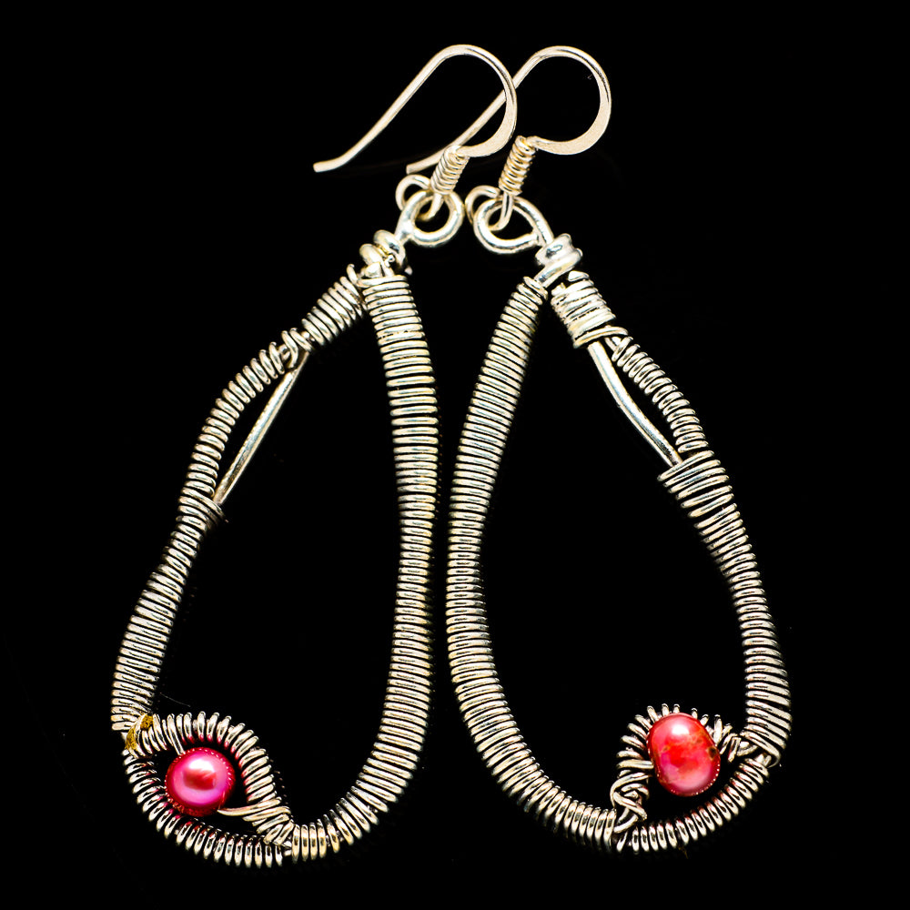 Pink Cultured Pearl Earrings handcrafted by Ana Silver Co - EARR400560