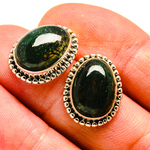 Green Moss Agate Earrings handcrafted by Ana Silver Co - EARR408275