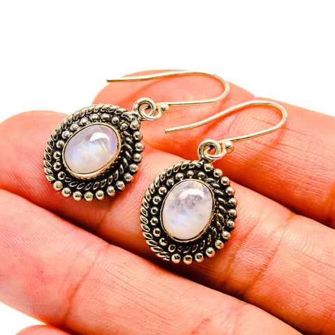 Rainbow Moonstone Earrings handcrafted by Ana Silver Co - EARR408590