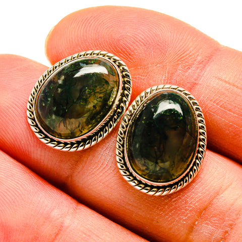 Green Moss Agate Earrings handcrafted by Ana Silver Co - EARR408996