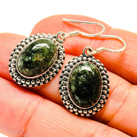 Green Moss Agate Earrings handcrafted by Ana Silver Co - EARR409666