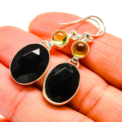 Black Onyx, Peridot Earrings handcrafted by Ana Silver Co - EARR409802