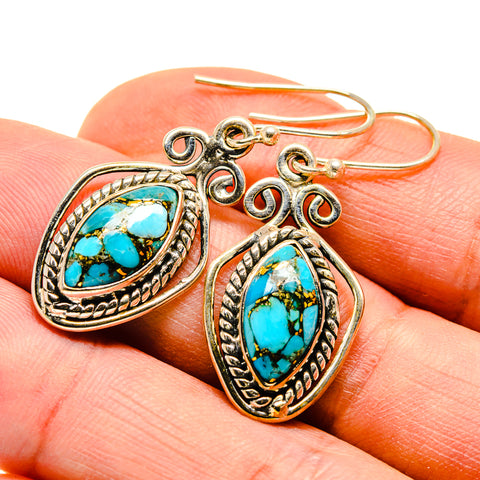 Blue Copper Composite Turquoise Earrings handcrafted by Ana Silver Co - EARR410069