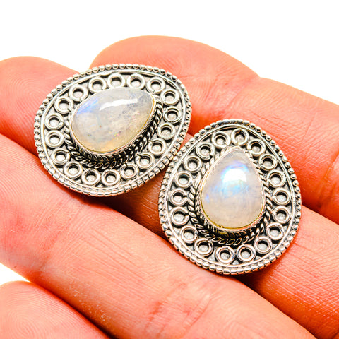 Rainbow Moonstone Earrings handcrafted by Ana Silver Co - EARR410138