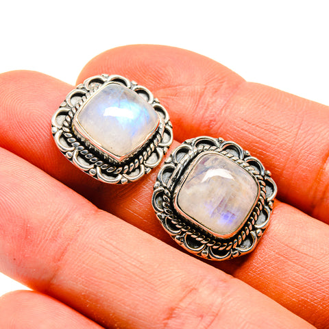 Rainbow Moonstone Earrings handcrafted by Ana Silver Co - EARR410144
