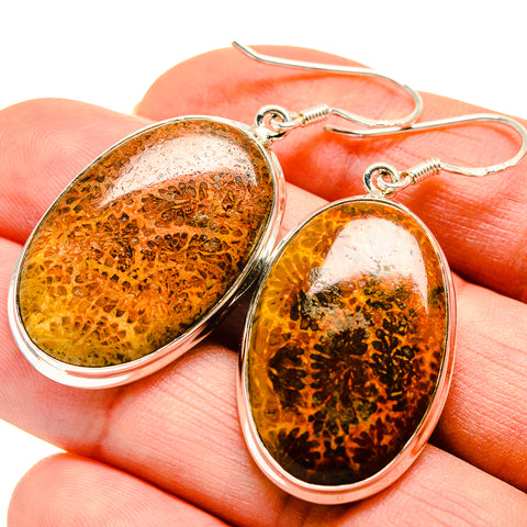 Fossil Coral Earrings handcrafted by Ana Silver Co - EARR410865