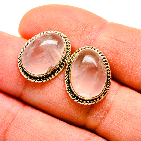 Rose Quartz Earrings handcrafted by Ana Silver Co - EARR411441