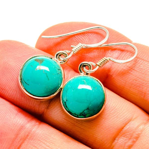 Tibetan Turquoise Earrings handcrafted by Ana Silver Co - EARR412806
