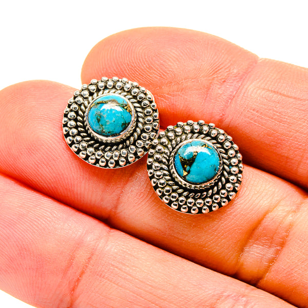 Blue Copper Composite Turquoise Earrings handcrafted by Ana Silver Co - EARR412942