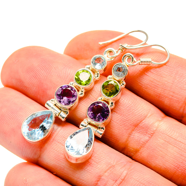 Blue Topaz, Amethyst, Peridot Earrings handcrafted by Ana Silver Co - EARR413637