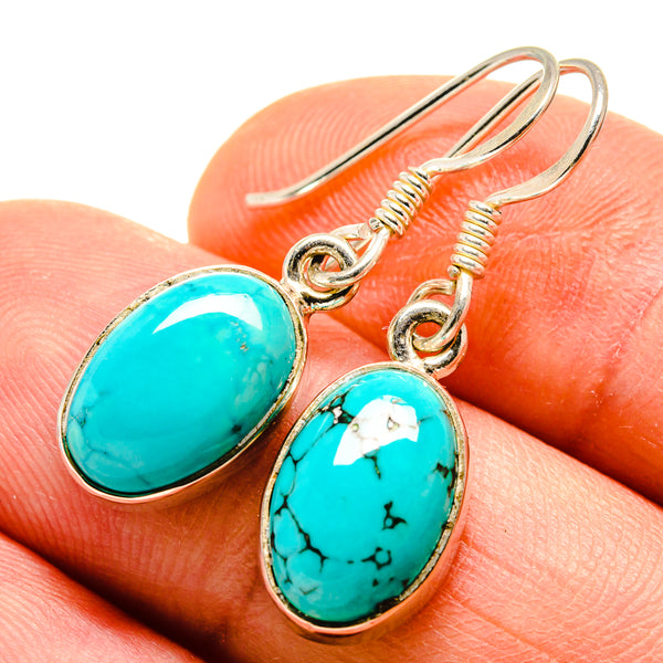 Tibetan Turquoise Earrings handcrafted by Ana Silver Co - EARR413669