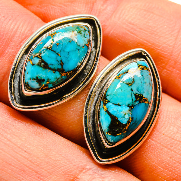 Blue Copper Composite Turquoise Earrings handcrafted by Ana Silver Co - EARR414446