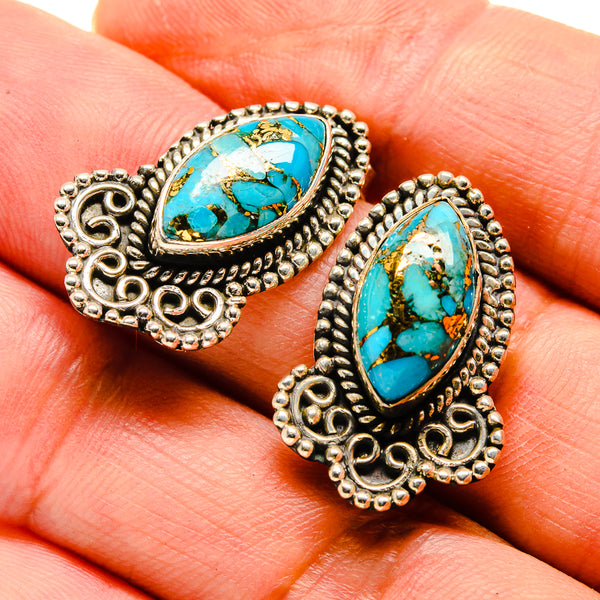 Blue Copper Composite Turquoise Earrings handcrafted by Ana Silver Co - EARR414767