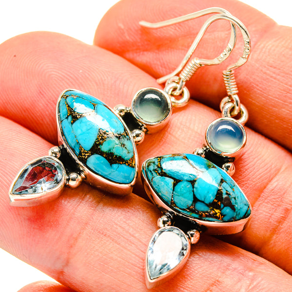 Blue Copper Composite Turquoise Earrings handcrafted by Ana Silver Co - EARR414821