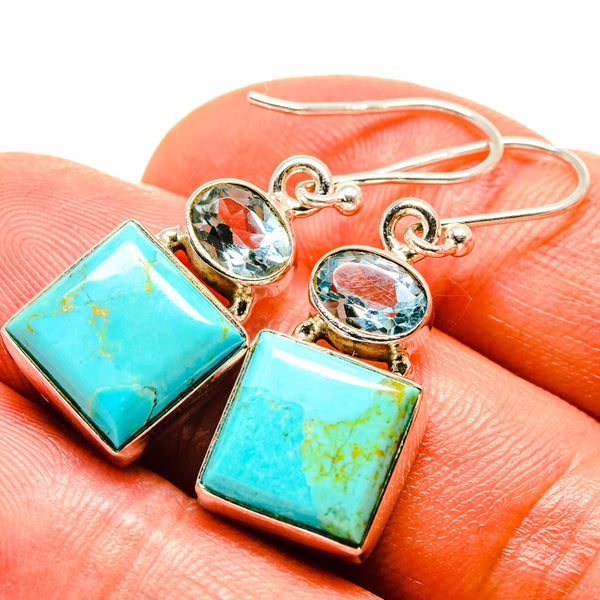 Arizona Turquoise Earrings handcrafted by Ana Silver Co - EARR414868