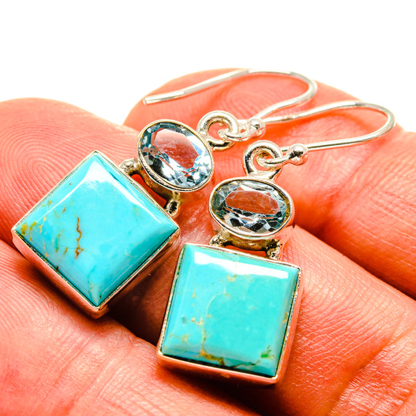 Arizona Turquoise Earrings handcrafted by Ana Silver Co - EARR414951