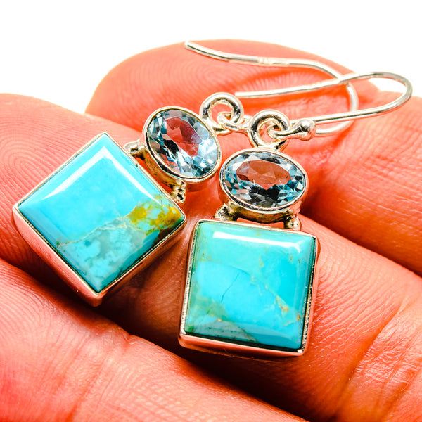 Arizona Turquoise Earrings handcrafted by Ana Silver Co - EARR415025