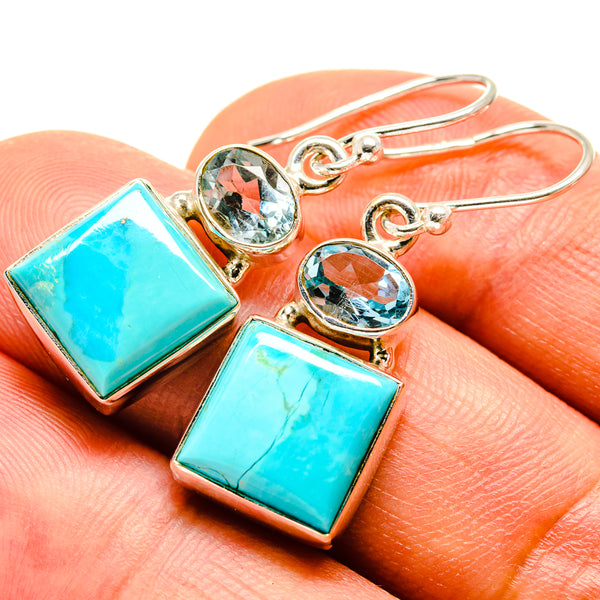 Arizona Turquoise Earrings handcrafted by Ana Silver Co - EARR415148