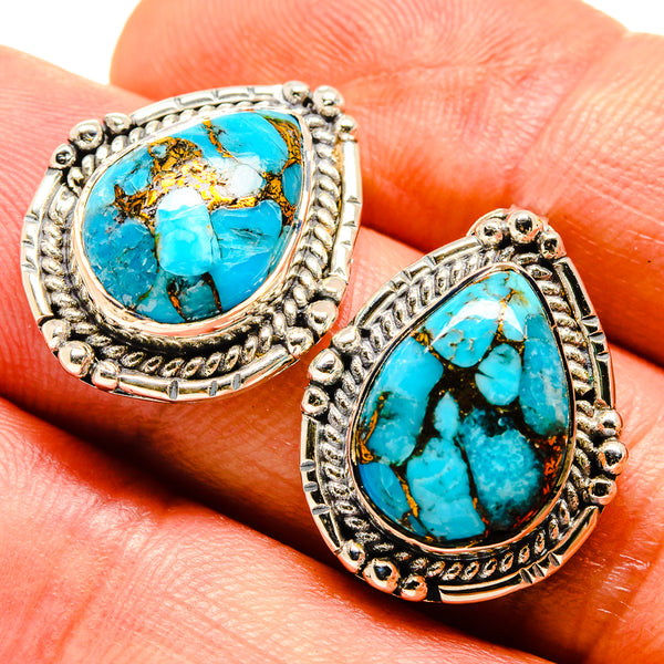 Blue Copper Composite Turquoise Earrings handcrafted by Ana Silver Co - EARR415170