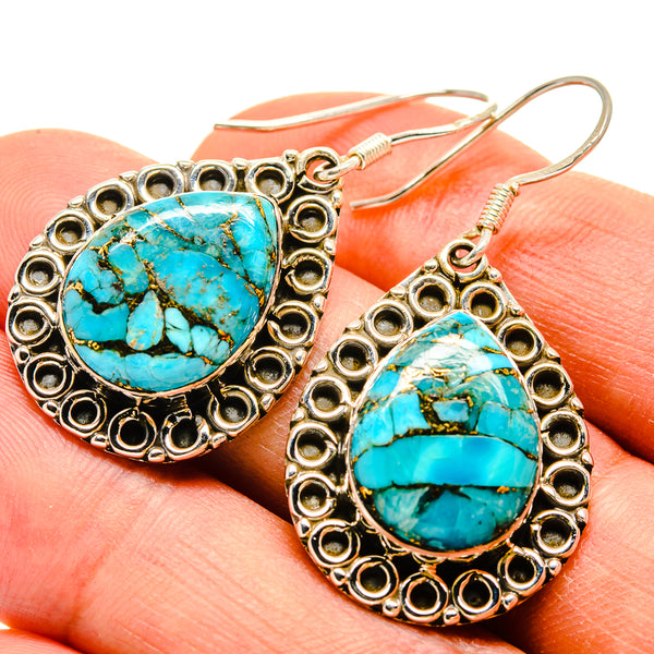 Blue Copper Composite Turquoise Earrings handcrafted by Ana Silver Co - EARR415254