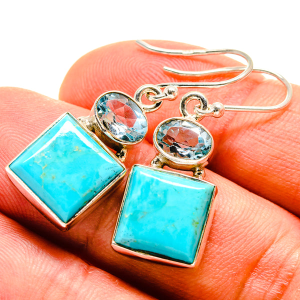 Arizona Turquoise Earrings handcrafted by Ana Silver Co - EARR415344