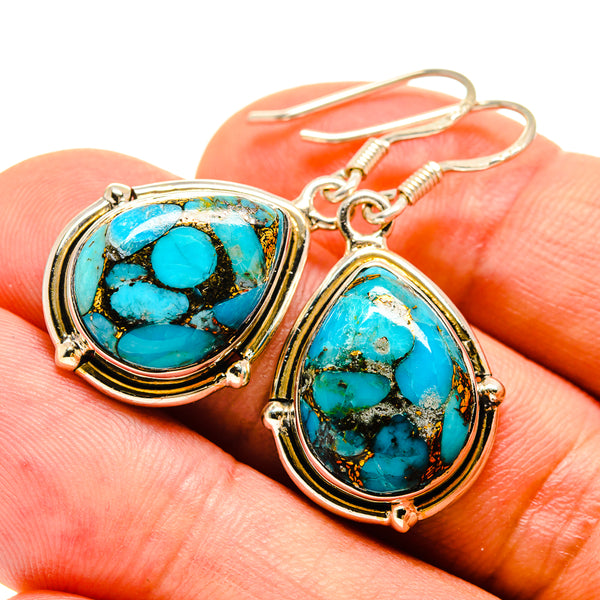 Blue Copper Composite Turquoise Earrings handcrafted by Ana Silver Co - EARR415361