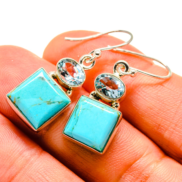 Arizona Turquoise Earrings handcrafted by Ana Silver Co - EARR415484