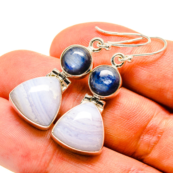 Blue Lace Agate Earrings handcrafted by Ana Silver Co - EARR415531