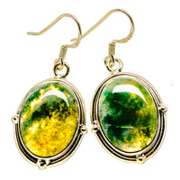 Green Moss Agate Earrings handcrafted by Ana Silver Co - EARR413775