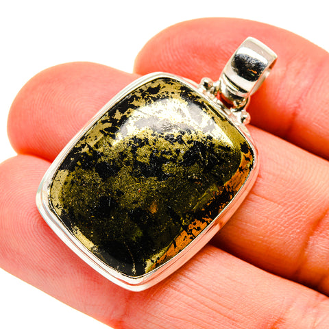 Pyrite In Black Onyx Pendants handcrafted by Ana Silver Co - PD745293