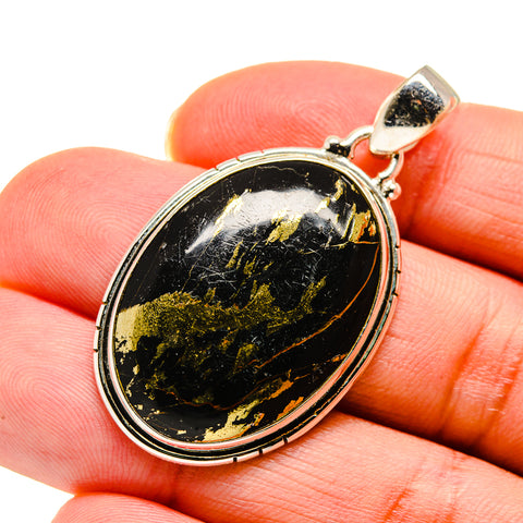 Pyrite In Black Onyx Pendants handcrafted by Ana Silver Co - PD745388