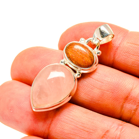 Rose Quartz, Sunstone Pendants handcrafted by Ana Silver Co - PD746215