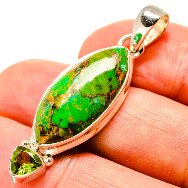 Green Copper Composite Turquoise Pendants handcrafted by Ana Silver Co - PD756794