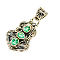 Zambian Emerald Pendants handcrafted by Ana Silver Co - PD752596