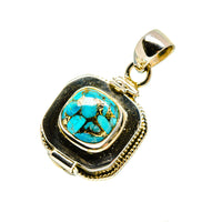 Blue Copper Composite Turquoise Pendants handcrafted by Ana Silver Co - PD752783