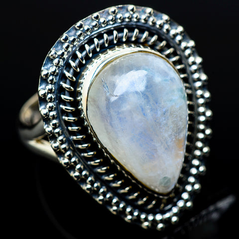 Rainbow Moonstone Rings handcrafted by Ana Silver Co - RING11221