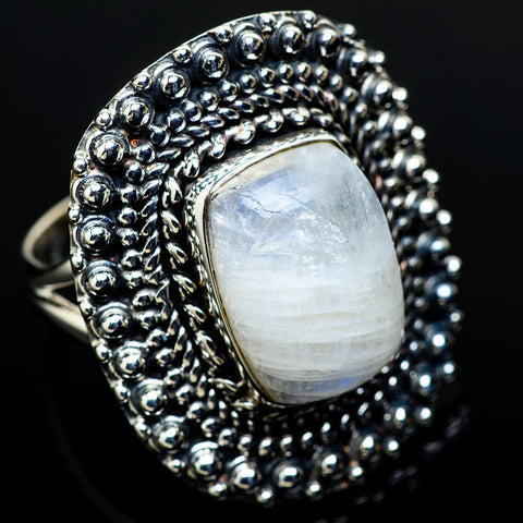 Rainbow Moonstone Rings handcrafted by Ana Silver Co - RING11604