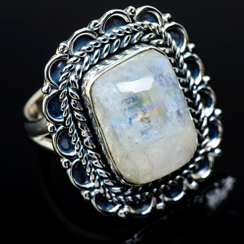 Rainbow Moonstone Rings handcrafted by Ana Silver Co - RING11845