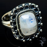 Rainbow Moonstone Rings handcrafted by Ana Silver Co - RING11891